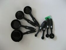 Set of Four Measuring Cups and Spoons. Heavy Black Plastic. New.
