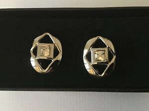 New Men's Cufflinks Rhodium Colour with Crystal Stone, Comes in Gift Box