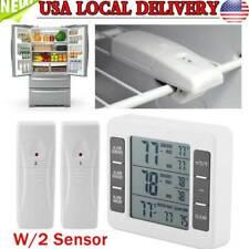 Wireless Digital 2 Sensor Refrigerator Freezer Thermometer/Alarm Low Temperature
