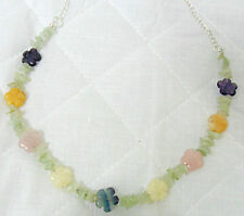 "Prehnite + mixed gemstone flowers, 25"" necklace"