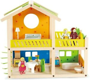 Hape Happy Villa Kids Wooden Doll House Set | 2 Story Dolls Villa with Furniture