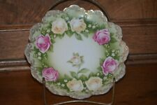 RC MALMAISON Bavaria Hand Painted Pink & Yellow Roses Plate Gold Trim