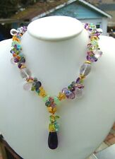 Amethyst Blue Topaz Prehnite Citrine Vermeil Sterling Silver Gemstone Necklace