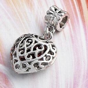 1Pc Silver Heart Dangle Bead Charm Fit Eupropean Chain Bracelet Making Jewelry