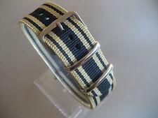 Uhrenarmband  Nylon beige blau beige 22 mm NATO BAND Dornschließe Textil
