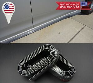 2 x 8FT Carbon Fiber Look EZ Fit Bottom Line Side Skirt Lip Trim For Hyundai Kia