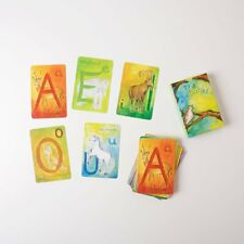 Grimm's Toys Waldorf Alphabet Cards Deck of 48 Animal Letters Watercolor Germany