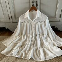 New Boutique White Cotton Button Up Embroidered Tunic Top Boho Blouse M L XL