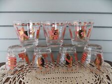 Set of 7 Old Fashioned Barware Drinking Glasses Pink & Gold Knights Coat of Arms