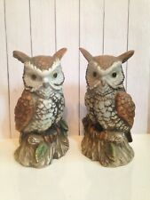 "set of 2 Vintage Homco Horned Barn Owl birds Figurines statues 7"" brown ceramic"