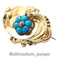 Biedermeier Storicismo Spilla 1850 Oro su Argento Pietre turchese colori Perla
