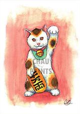 """Chau dipinge """"Fortuna Kitty"""" Maneki Neko Cat A4 dipinto ad Acquerello incorniciato pronto"""