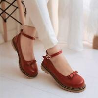 Sweet Women's Ladies Mary Janes Flat Heel Bowknot Ankle Strap Shoes Plus Size