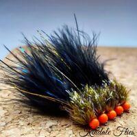 Ally McCoist UV Olive / Black Fritz Lure size 8 (Set of 3) Fly Fishing Flies