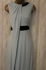 Karen Millen Drape Slinky Jersey Contrast Belt Blue Cocktail Party Dress 10 38