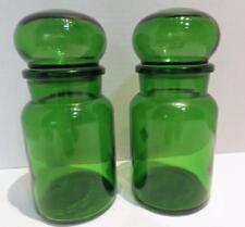 2 Emerald Green Glass Apothecary Bottles Jars Belgium