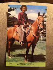 Unused Chrome Post Card – Rocky Ford- Colorado –COWBOY ON HORSE