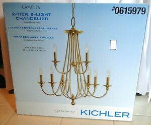 Kichler Camella 2 tier 9-Light Natural Brass Traditional Candelabra Chandelier