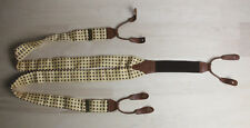 Made In ENGLAND Yellow Braces Suspenders Brown Leather Brass Hardware