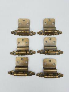 Hyer Cabinet Hardware Hinges Antique Brass Color Ornate 6 piece set