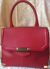ALBERTA DI CANIO RED genuine Leather Tote HandBag Made in Italy New Rare $199