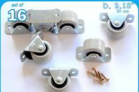 16 Rigid Rubber Fixed Caster Wheels Casters 30mm Furniture Beds Drawers Boxes