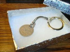1949 UK British LUCKY Sixpence key chain Snake style Silver Tone W/Box