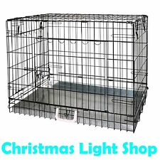 Pet Transport Crate 63 x 48 x 56cm Folding Black Portable Dog Cat Training Cage