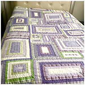 Pottery Barn Kids Quilt Full Queen Girls Bedspread Plaid Pink Green White