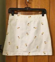 JCrew White Mini Skirt W/Gold Pineapple Embroidery-All Over Print! MINT!