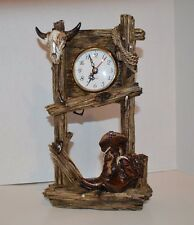 10.5 Inch Wood Look Design Cattle Skull and Boots Pendulum Desk Clock
