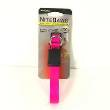 Nite Ize NiteDawg LED Light-Up Dog Collar Neon Pink X-Small Lightweight Nylon