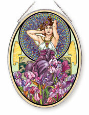 """AMETHYST WOMAN WITH FLOWERS AMIA STAINED GLASS SUNCATCHER 6.5"""" X 9"""" OVAL   42716"""