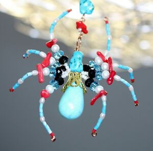 Swarovski Crystal & Turquise Beaded Spider / Ornament / Tree Decoration