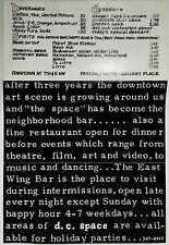 Original Vintage Food Menu D.C. SPACE BAR MUSIC VENUE Washington DC Downtown