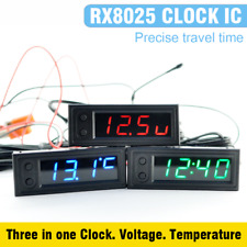 12V 3in1 Vehicle Car Kit Thermometer + Voltmeter + Clock LED Digital Display