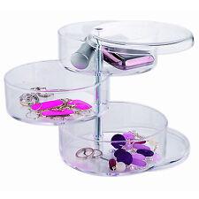 Clear Acrylic Round Swivil 3-tier Cosmetic Makup Jewelry Organizer