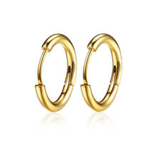 Unisex Silver/ Gold/Black Round Simple Hoop Sleeper Earrings Stainless Steel New