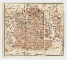 1910 ANTIQUE CITY MAP OF LILLE / FRENCH FLANDERS / FRANCE