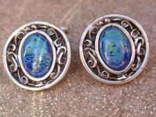VINTAGE ROUND WHITE METAL SET WITH FAUX AGATE GLASS STONE PAIR CUFFLINKS