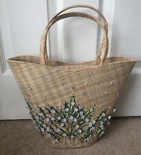 Lulu Guinness Collectors Structured Basket Raffia Hand Bag Embroidered Flowers