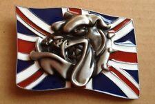 Boucle De Ceinture Tête De Bulldog Sur Drapeau Anglais - Biker - Motar - Rock