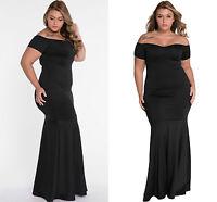 Ladies Black Plus Size Off Shoulder Fishtail Maxi Dress Prom Gown Evening 16 18