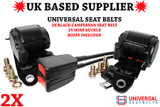 2x Universal Campervan Bed Seat Belts. 3.5m Length & 30cm Wire Buckle Ends E4 UK