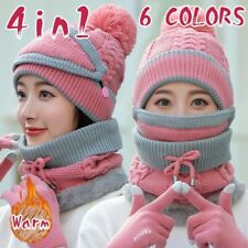 4Pc Women Beanie Hat Pom Scarf Mask Knitted Touch Screen Gloves Set Winter Warm
