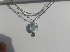 Estate 26.45 carat Diamond Amethyst, Aquamarine 14k gold bar & hinge necklace