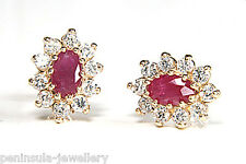 9ct Gold Stud Earrings Ruby Cluster Made in UK Gift Boxed