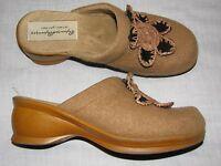 8 M Rapunzel Shoes Ladies Mules Clogs Wool Brown Tan Wedge Flower Heels womens 8