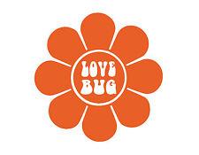 """LOVE BUG FLOWER WINDOW DECAL VINYL STICKER ORANGE 5X5"""" SUNFLOWER 70'S HIPPIE"""