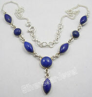 """925 Sterling Silver NAVY BLUE LAPIS LAZULI INEXPENSIVE Necklace 18.2"""""""